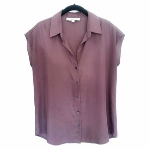LOFT Silky Button Up Collared Blouse inTaupe